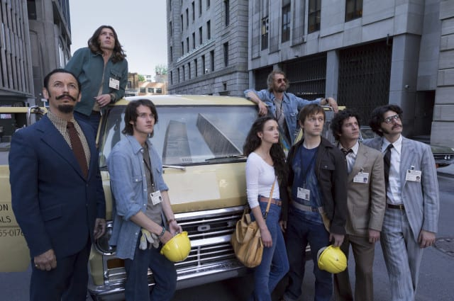 (L to R) Barry Greenhouse (Steve Valentine), David (Benedict Samuel), Jeff (Cesar Domboy), Annie (Charlotte Le Bon), Jean Pierre (James Badge Dale), Philippe Petit (Joseph Gordon-Levitt), Jean Louis (Clement Sibony) and Albert (Ben Schwartz) in TriStar Pictures' THE WALK.