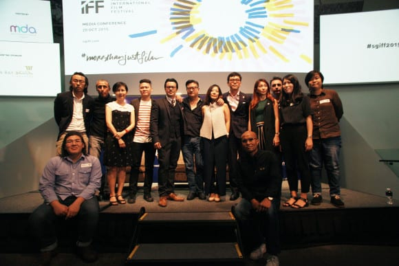 SGIFF Chairman Mike Wiluan, Executive Director Yuni Hadi and Festival Director Zhang Wenjie with local filmmakers whose films will be part of this year's Singapore Panorama