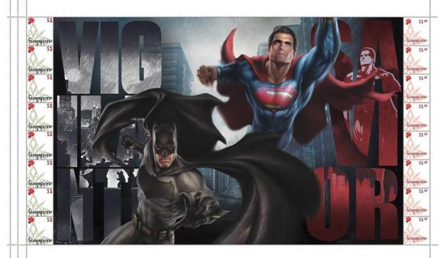 SingPost Batman v Superman MyStamp Stampsheet