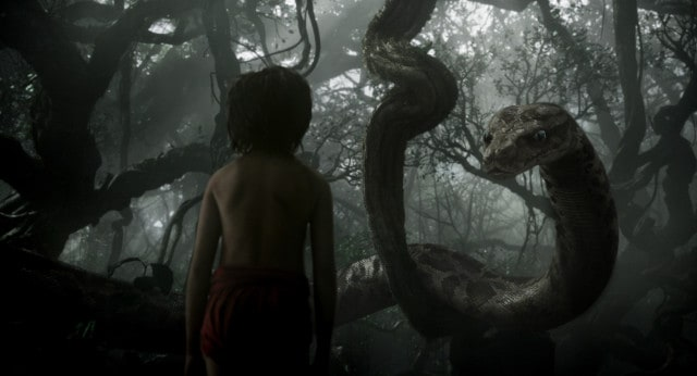 "Mowgli (newcomer Neel Sethi) meets Kaa (voice of Scarlett Johansson) in ""The Jungle Book,"" an all-new live-action epic adventure about Mowgli, a man-cub raised in the jungle by a family of wolves, who embarks on a captivating journey of self-discovery when he's forced to abandon the only home he's ever known. In theaters April 15, 2016. ..©2015 Disney Enterprises, Inc. All Rights Reserved."