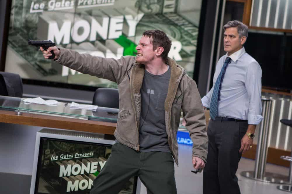 Kyle Budwell (Jack O'Connell) takes TV host Lee Gates (George Clooney) hostage in TriStar Pictures' MONEY MONSTER.