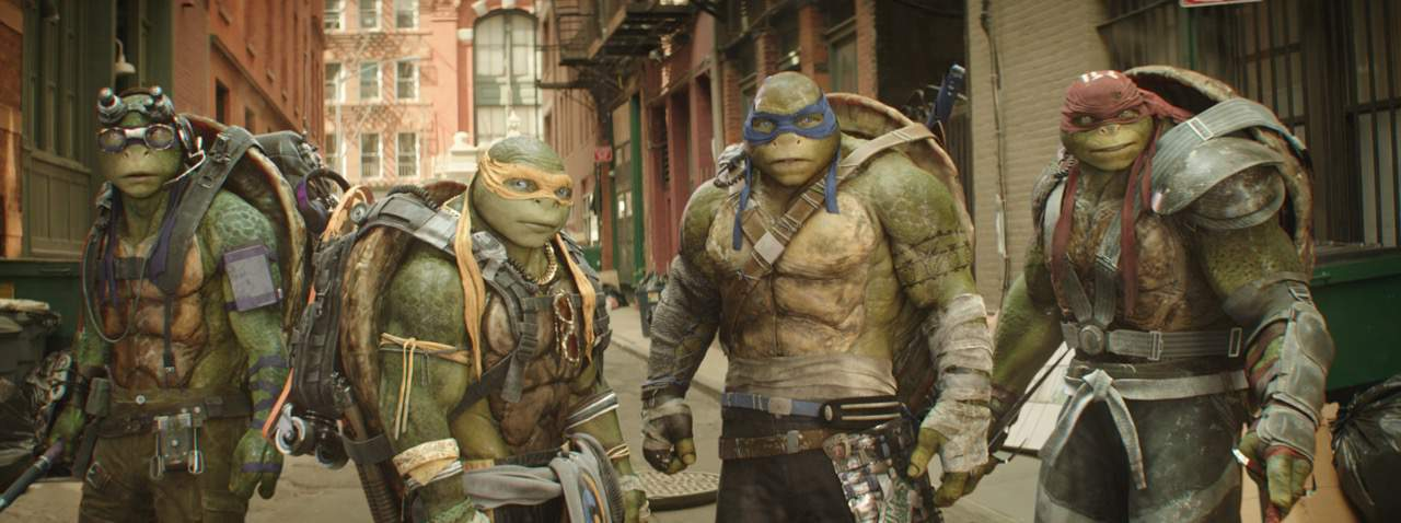 Left to right: Donatello, Michelangelo, Leonardo and Raphael in Teenage Mutant Ninja Turtles: Out of the Shadows
